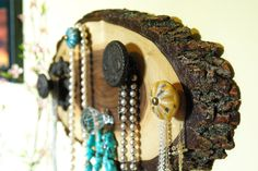 Jewelry Display, Jewelry Hanger, Country Chic, Rustic Jewelry Holder, Tree Wood Decor, black walnut tree wood. $42.50, via Etsy.