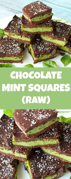 of raw vegan goodness in these raw chocolate mint squares A biscuity base creamy mint center and rich chocolate topping Raw vegan glutenfree Mint Desserts, Raw Vegan Desserts, Raw Vegan Recipes, Vegan Sweets, Vegan Foods, Vegan Snacks, Paleo, Raw Dessert Recipes, Vegan Meals