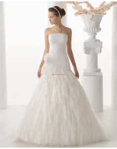 Bez ramínek Elegantní & luxusní Květiny Svatební šaty 2014