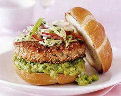 Salmon Burger with Avocado-Lime Guacamole