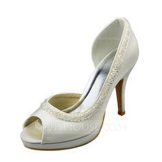 Women s Satin Stiletto Heel Peep Toe Sandals With Beading (047061823) Wedding  Shoes Heels 4bf11704943a
