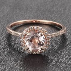 14K Rose Gold Halo Pave Diamond Engagement Ring/Cocktail Ring With Morganite Center Stone