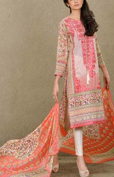 Buy T-Pink Embroidered Cotton Lawn Salwar Kameez by Mausummery Lawn Spring Collection 2015.