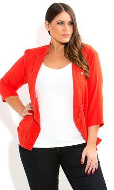 City Chic - HOT LACE BIKER JACKET - Women's plus size fashion