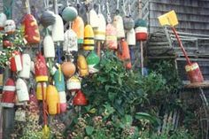 buoy fence - Laurie Murison Grand Manan Island everytime i drive past this house, it is hard to not demand we stop the car so i can see if they will sell me one. Stuff To Do, Things To Do, Atlantic Canada, New Brunswick, Seashells, East Coast, Wonderful Places, Driftwood
