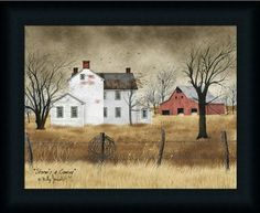 LONELY BARN by Billy Jacobs 15x21 FRAMED ART Abandoned Old Barn Farm PICTURE