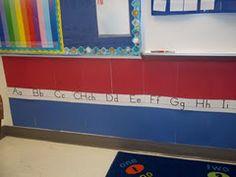 Dual language word wall!! Red Spanish/Blue English