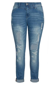 City Chic - RIPPED PATCH SKINNY JEAN - Women's Plus Size Fashion