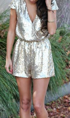 gold sequined romper for New Year's Eve