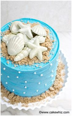 Beach Cake | How to make DIY projects that beach lovers will obsess over. I love how easy it is to enjoy the beach with these DIY crafts. Make beach theme DIY home decor like centerpieces, signs and a really cool beach console table. These beach crafts also make awesome decorations for a beach wedding! The 14 crafts are perfect for any beach lover! This is a must see! #beachlovers #diycrafts #beachcrafts Beach Cake Birthday, Themed Birthday Cakes, Moana Birthday, Mermaid Birthday, Birthday Cake Designs, Themed Cakes, 4th Birthday, Beach Themed Desserts, Beach Theme Cakes