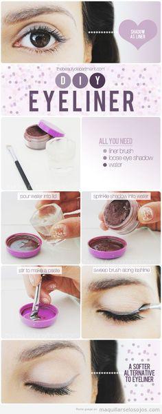 Truco y tutorial paso a paso, cómo convertir una sombra de ojos en eyeliner