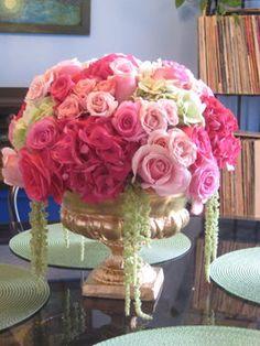 Beautiful roses and hydrangeas centerpiece