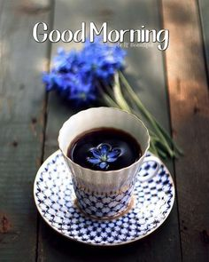Black coffee and blue flowers. Cappuccino Coffee, Coffee Cafe, Coffee Shop, Good Morning Coffee, Coffee Break, Good Morning Friday, Coffee Is Life, My Coffee, Happy Coffee
