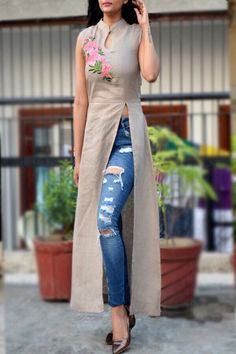 Buy Greenish Gray Pure Linen Embroidered A-Line Kurti by Colorauction - Online shopping for Kurtis in India Simple Kurti Designs, Kurta Designs Women, Latest Kurti Designs, Indian Designer Outfits, Designer Dresses, Designer Kurtis, Kurti With Jeans, A Line Kurti, Kurta Neck Design