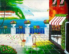Cafe in Taormina, Sicily, Italy Original Acrylic Painting and Fine Art Giclée Prints Greek Paintings, Original Paintings, Original Artwork, Stretched Canvas Prints, Canvas Art Prints, Mediterranean Art, Taormina Sicily, Italy Painting, Watercolor Painting