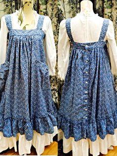 Rare vintage 70s laura ashley blue floral over smock pinafore dress uk 10 -12 US 6-8