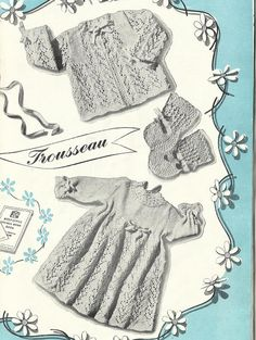 Baby Christening Trousseau - Long Dress, Matinee Coat, Bonnet, Bootees & Mittens   Size - 22 Yarn - 3ply / Light Fingering Needles - #10 / 3.25mm; #12 / 2.75mm & #8 / 4.00mm  The pattern is from Emu Baby Book    This is for a digital download upon payment  Happy Knitting!!  Design delivery All designs are available for instant download! After the payment you will receive two emails from Etsy: one confirming your purchase and the other letting you know that your design is ready for download…