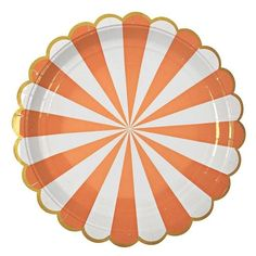 These beautifully decorated party plates feature a radial orange and white stripe pattern and a scallop edge with gold banding. Perfect for Halloween or a summer party. Pack contains 8 paper plates.Plate size: 9 x 9 inches Halloween Supplies, Halloween Party Decor, Party Supplies, Black And White Plates, Orange Party, Rainbow Paper, Large Plates, Paper Plates, Babyshower