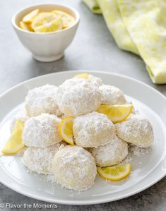Meyer Lemon Greek Butter Cookies {Kourabiedes} are easy, classic Greek cookies with a refreshing citrus twist. They're perfect for your holiday baking! Butter Cookies Recipe, Lemon Cookies, Baking Recipes, Cookie Recipes, Dessert Recipes, Desserts, Baked Custard Recipe, Cinnamon Stars Recipe, Meyer Lemon Recipes