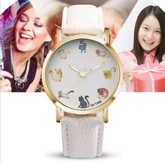 cute cat watch orange glasses leather watch for women wrap quartz casual cat watch lovely wristwatch //Price: $9.95 & FREE Shipping // #accessories #love #crystals #beautiful