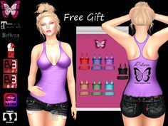 Ƹ̵̡Ӝ̵̨̄Ʒ Free Gift From Reborn, Tank Top Diva Pack, 7 colors with appliers and system layers