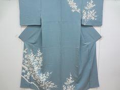 Blue kimono with white ume