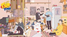 #EXO #xiumin #chen #kai #kyungsoo #chanyeol #baekhyun #suho #sehun Wallpaper Dekstop, Wallpaper Pc, Kawaii Wallpaper, Cartoon Wallpaper, Cute Laptop Wallpaper, Macbook Wallpaper, Kpop Exo, Exo Xiumin, Exo Cartoon