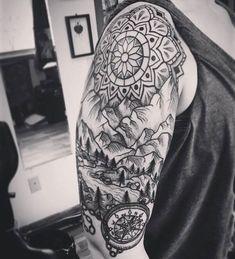 Cool Upper Arm Tattoo Ideas For Guys - Best Half Sleeve Tattoos For Men: Cool Upper Arm, Half Sleeve Tattoo Designs and Left Arm Tattoos, Tattoos Arm Mann, Upper Arm Tattoos, Arm Sleeve Tattoos, Arm Tattoos For Guys, Trendy Tattoos, Popular Tattoos, Half Sleeve Tattoo Upper Arm, Henna Tattoos