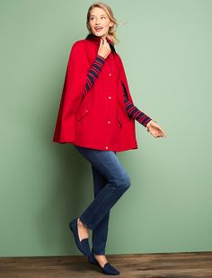 Our eye-catching cape in bright apple red combines a definite style statement and water-resistant practicality. Coated cotton drapes beautifully for an easy silhouette. Casual Holiday Outfits, Preppy Fall Outfits, Belted Shirt Dress, Plaid Jacket, Classic Style Women, Tartan Plaid, Festival Outfits, Flare Skirt, Talbots