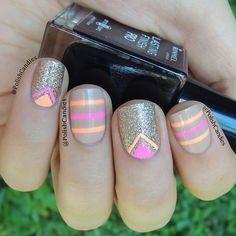 Nude, neon, and gold nail design
