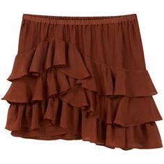 Ruffled Skirt (63 PEN) ❤ liked on Polyvore featuring skirts, elastic waist skirt, frilly skirts, mango skirt, flounce skirt and frill skirt