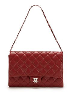 Brick Red Caviar Convertible Clutch Flap Bag