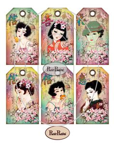 Japanese Beauties Gift Tags Scrapbooking With by roserains on Etsy, $4.90