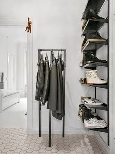 Coatstand by Hay & lots of shelves for shoes