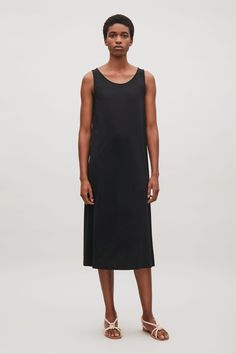COS image 1 of Dress with overlapping keyhole back in Black