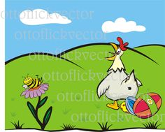 HAPPY EASTER CARD vector clipart eps, ai, cdr, png, jpg, spring meadow, eatsr eggs, hen, bee, blooming flower, funny easter, hen lays eggs by ottoflickvector on Etsy