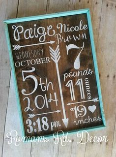 Birth Announcement Sign Framed-Baby shower gift by RomansRdDecor on Etsy
