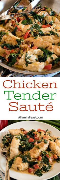 Chicken Tender Sauté - Tender strips of chicken with vegetables in a creamy sour cream sauce. Great for a keto or low carb diet.