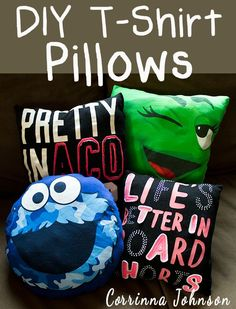 Recycle old t-shirts into colorful pillows