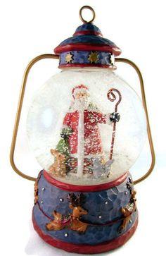 christmas snow globe santa claus lantern winterland collection 6 inches unique