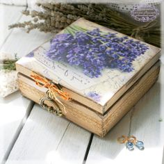 Box for jewelry Bouquet of lavender Vintage look by Alenahandmade, $40.00