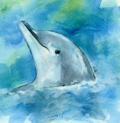 watercolor+dolphin   dolphin watercolor mini painting