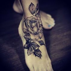 Tattooed Ankle Foot #rose #ink
