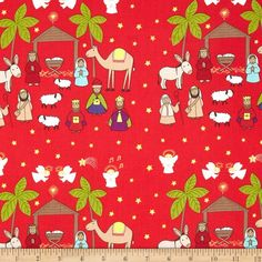 Lewis and Irene A Little Christmas Star Nativity Scene Red from @fabricdotcom  Designed by Lewis and Irene, this cotton print fabric is perfect for quilting, apparel and home decor accents. Colors include red, pink, tan, yellow, grey, green, blue, brown, purple and black.