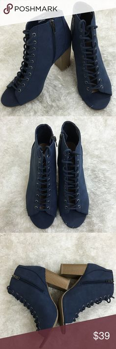 Navy Blue Suede Lace Up Peep Toe Ankle Booties Worn once only. No damages. Great condition. Shoes Ankle Boots & Booties