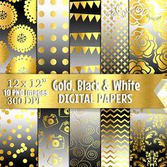 Blanco y negro digital papel oro Digital degradado por PaperArtbyMC
