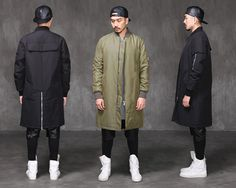 VANDALS MA1 Extended Back Zipped Long Bomber Jacket Black,KhakiGreen S jacket263
