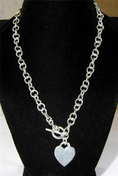 Sterling Silver chain necklace with heart charm AA11