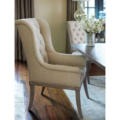 Shop the Michaela French Country Wood Upholstered Button Tufted White Dining Arm Chair and other Dining Room Chairs at Kathy Kuo Home Solid Wood Dining Chairs, Dining Arm Chair, Upholstered Dining Chairs, Chair And Ottoman, Dining Room Chairs, Dining Room Furniture, Side Chairs, Office Chairs, Lounge Chairs