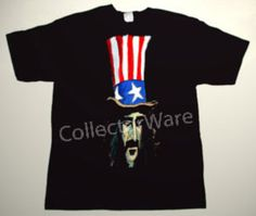 FRANK ZAPPA cartoon 4 CUSTOM ART UNIQUE T-SHIRT  Each T-shirt is individually hand-painted, a true and unique work of art indeed!  To order this, or design your own custom T-shirt, please contact us at info@collectorware.com, or visit  http://www.collectorware.com/tees-frankzappa_andrelated.htm